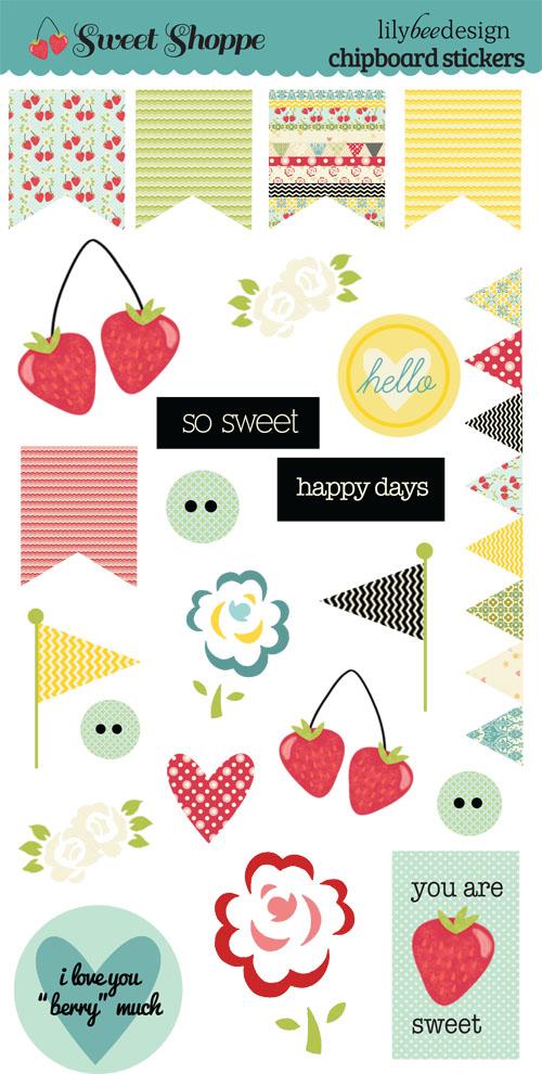 Sweet Shoppe Chipboard Stickers