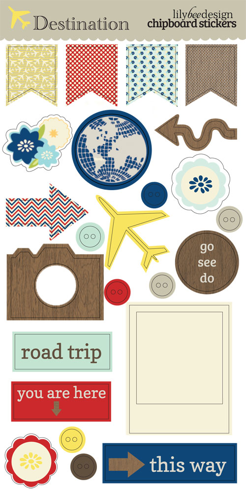 Destination Chipboard Stickers